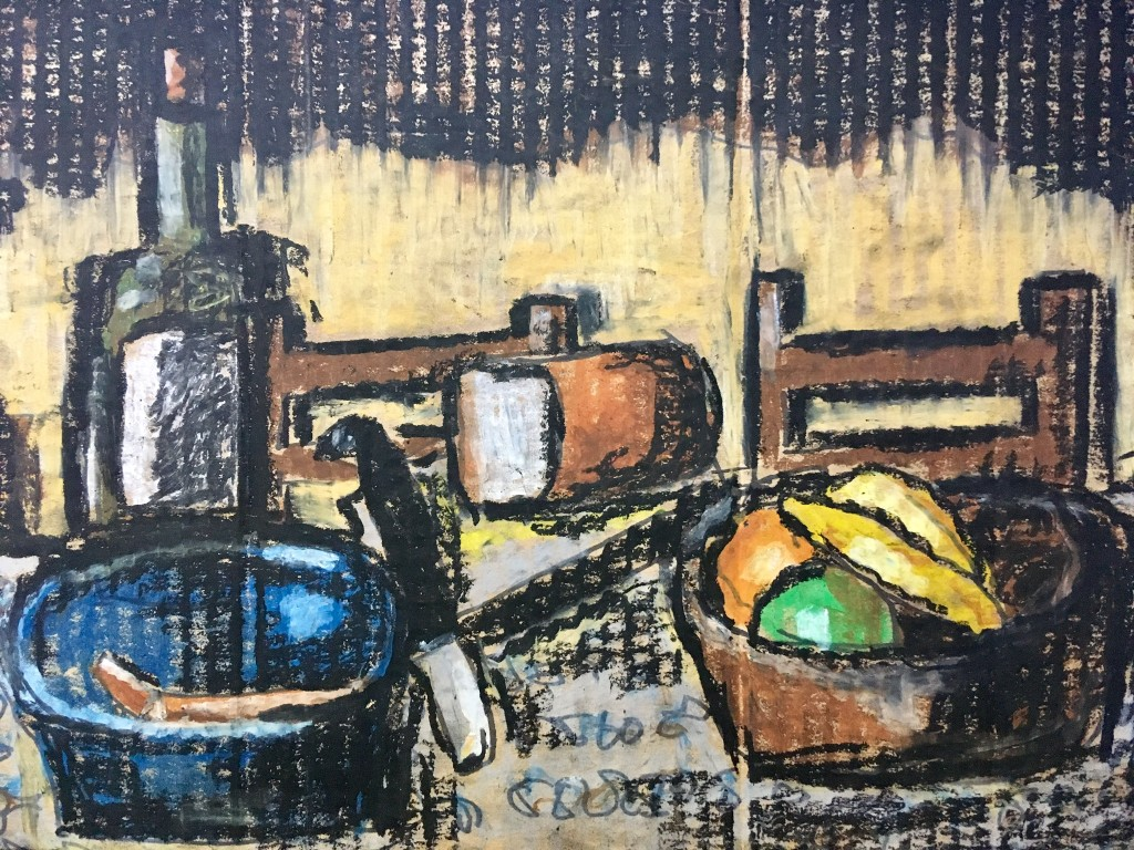 Ölkreiden auf Pappe. ecs. 2018. (nach einem unbekannten Künstler.)
